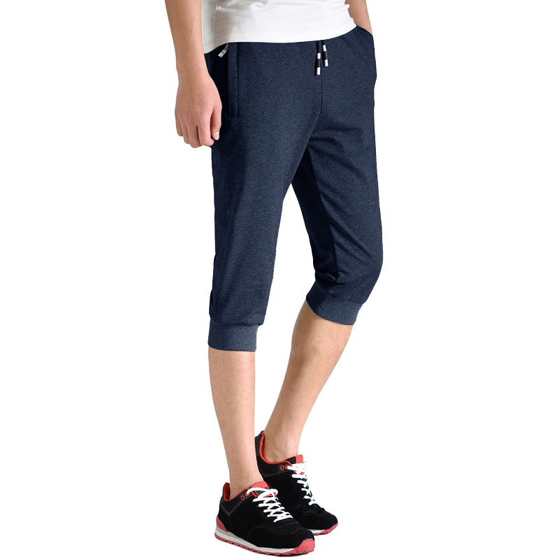 Men \'s Joggers Breathable Training Workout Gym Pants with Zipper Pockets Running Bottoms